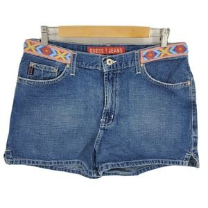 Vintage 90s Guess High Rise Denim Shorts Beads